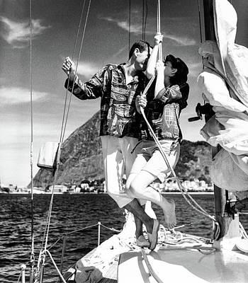 Photograph - Models Wearing A Bennett Shirts On A Sailboat by Richard Waite