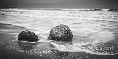 Photograph - Moeraki Boulders And Waves by Colin and Linda McKie