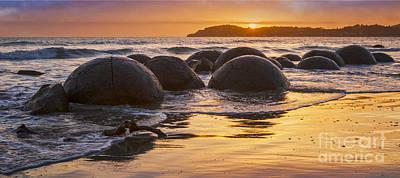 Photograph - Moeraki Boulders Otago New Zealand Sunrise by Colin and Linda McKie
