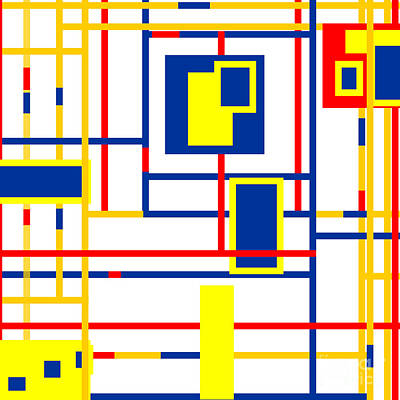 Rectangle Digital Art - Mondrian Color Teraphy by Celestial Images