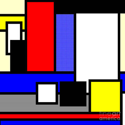 Repetition Mixed Media - Mondrian Composition by Celestial Images