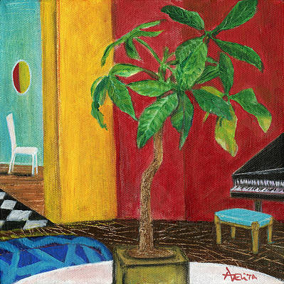 Money Tree In The Music Room Art Print by Adelita Pandini