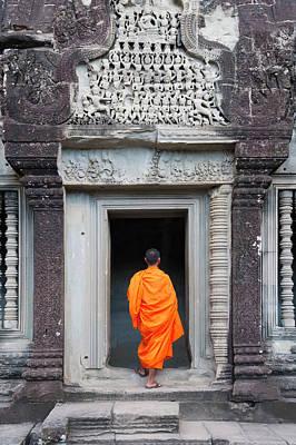 Monk At Angkor Thom, Cambodia, A Unesco Art Print
