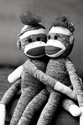 Black Cloth Dolls Photograph - Monkey Love by Cynthia Linderbeck