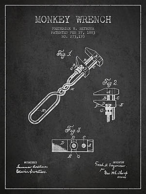 Monkey Wrench Patent Drawing From 1883 Art Print
