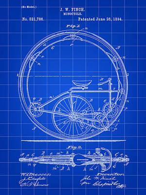 Triathlon Digital Art - Monocycle Patent 1894 - Blue by Stephen Younts
