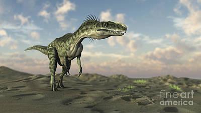 Gigantic Digital Art - Monolophosaurus Walking Across Desert by Kostyantyn Ivanyshen