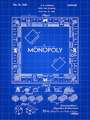 Monopoly Patent 1935 - Blue Art Print by Stephen Younts