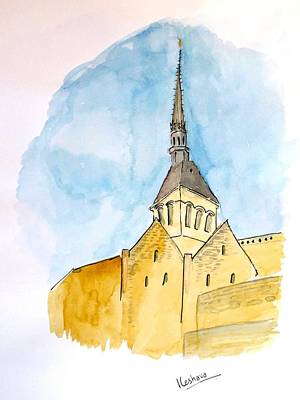 Painting - Mont Saint Micheal by Keshava Shukla