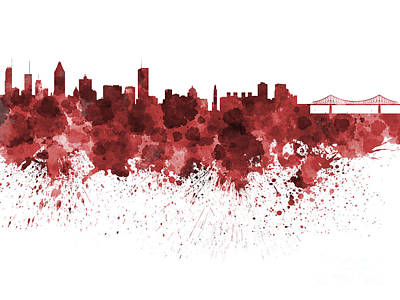 Montreal Skyline In Watercolor On White Background Print by Pablo Romero