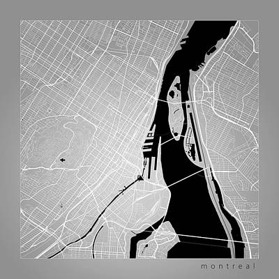 Montreal Digital Art - Montreal Street Map - Montreal Canada Road Map Art On Color by Jurq Studio