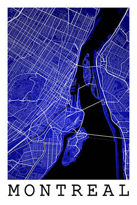 Montreal Streets Digital Art - Montreal Street Map - Montreal Canada Road Map Art On Colored Ba by Jurq Studio