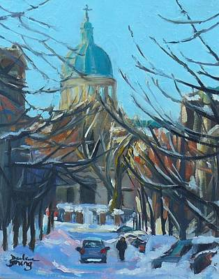 Art Print featuring the painting Montreal Winter Scene by Darlene Young