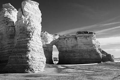 Kansas Photograph - Monument Rocks Of Kansas In Black And White by Ellie Teramoto