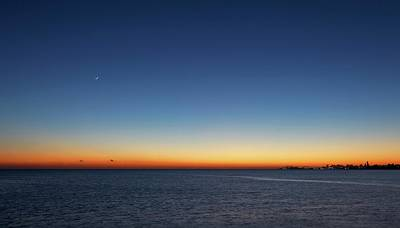 Moon And Venus At Sunrise Art Print by Luis Argerich