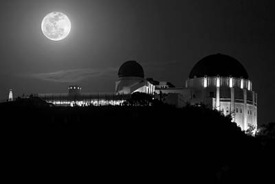 Moon Over Griffith Observatory Art Print