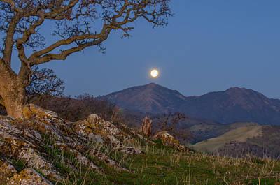 Moon Over Mt Diablo Art Print