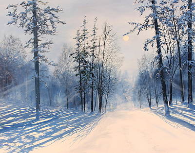 New England Snow Scene Painting - Moonlight In Vermont by Ken Ahlering