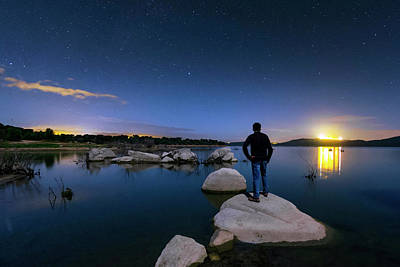 Moonlit Night Photograph - Moonlit Lake Alqueva by Babak Tafreshi