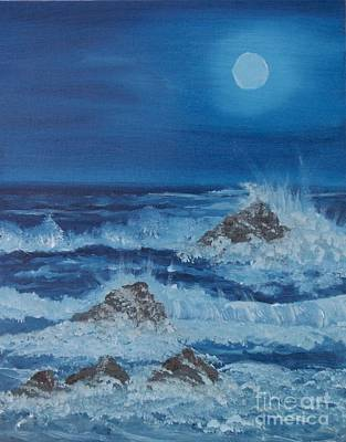 Moonlit Waves Art Print by Holly Martinson