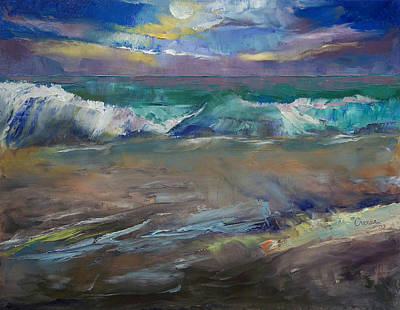 Moonlit Painting - Moonlit Waves by Michael Creese