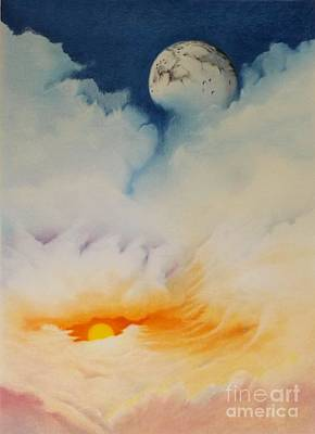 Contemporary Surrealism Drawing - Moonrise by David Neace