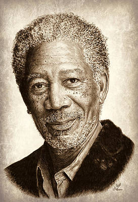 Afro Drawing - Morgan Freeman by Andrew Read