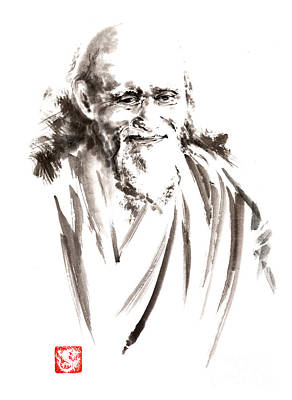 Handmade Painting - Morihei Ueshiba Sensei Aikido Martial Arts Japan Japanese Master Sum-e Portrait Founder by Mariusz Szmerdt
