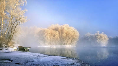 Frost Photograph - Morning Fog And Rime In Kuerbin by Hua Zhu