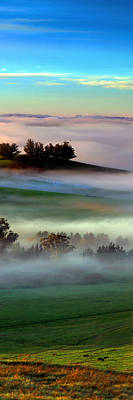 Surrealism Digital Art Rights Managed Images - Morning Fog over Two Rock Valley Diptych Royalty-Free Image by Wernher Krutein
