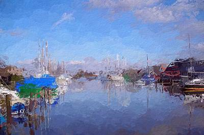 Water Reflections Mixed Media - Morning In The Harbor by Steve K