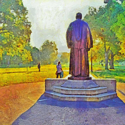 Digital Art - Morning On The First Day Of Classes. The William Oxley Thompson Statue. The Ohio State University by Digital Photographic Arts