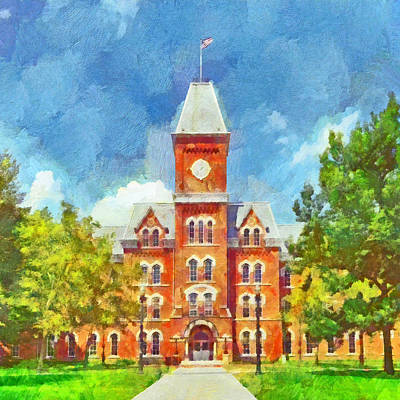 Digital Art - Morning On The First Day Of Classes.  University Hall.  The Ohio State University by Digital Photographic Arts