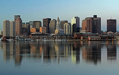 Boston Skyline Panoramic Photograph - Morning Reflection by Juergen Roth