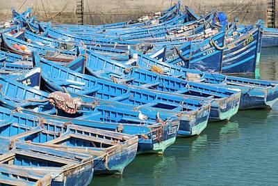 Essaouira Photograph - Morocco, Essaouira, Small Boats Tied by Emily Wilson