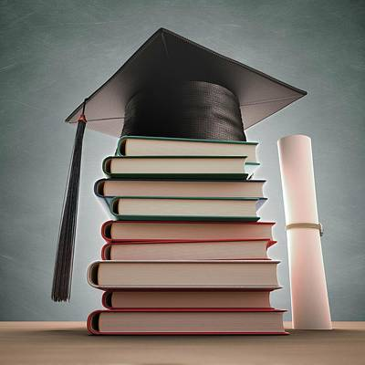 Mortar Photograph - Mortar Board On A Stack Of Books by Ktsdesign