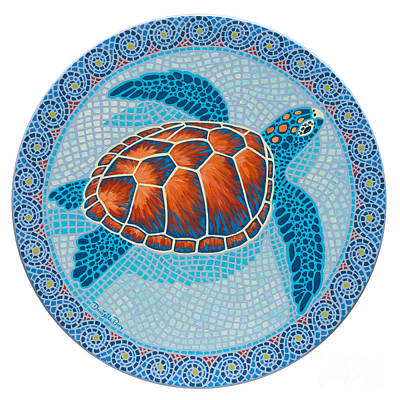 Sea Turtles Painting - Mosaic Turtle by Danielle  Perry