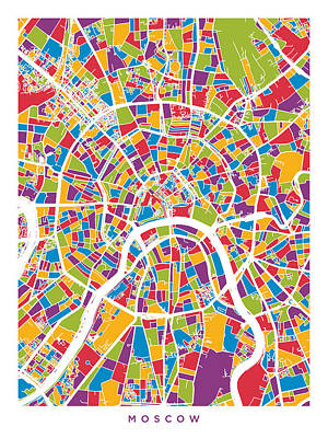 Moscow Digital Art - Moscow City Street Map by Michael Tompsett