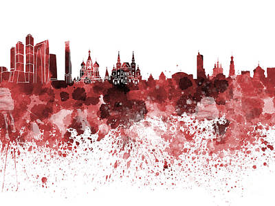 Moscow Skyline White Background Art Print by Pablo Romero