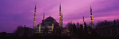 Mosque Lit Up At Dusk, Blue Mosque Art Print by Panoramic Images