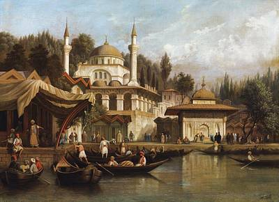 Ramadan Painting - Mosque Mihrimah Sultan In Istanbul by Celestial Images