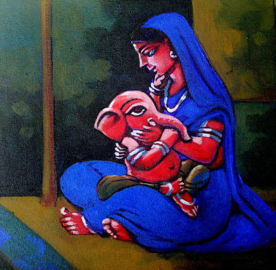 Mother And Child. Art Print by Abhijit Banerjee