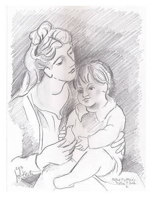 Drawing - Mother And Child by John Keaton