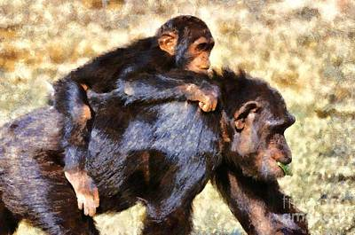 Chimpanzee Painting - Mother Chimpanzee With Baby On Her Back by George Atsametakis