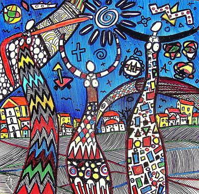 Drawing - Mothers ... by Branko Jovanovic