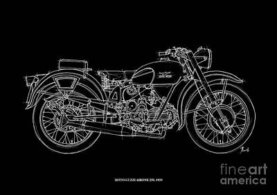 White On Black Drawing - Moto Guzzi Airone 250 - 1939 by Pablo Franchi
