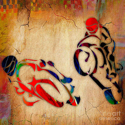 Motorcycle Racing Art Print by Marvin Blaine