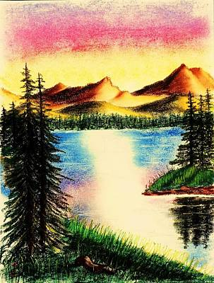 Drawing - Mountain Lake by Karen Buford