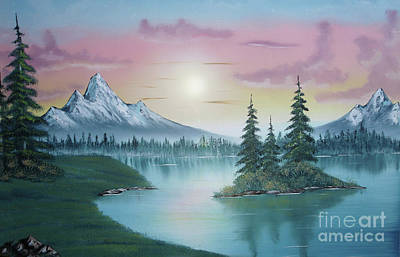 Mountain Lake Painting A La Bob Ross 1 Art Print by Bruno Santoro