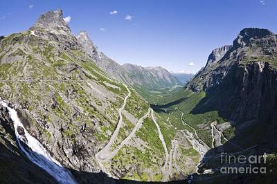Norwegian Waterfall Photograph - Mountain Road, Norway by Dr Juerg Alean